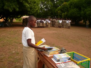 Books distributed as prizes after a reading contest.